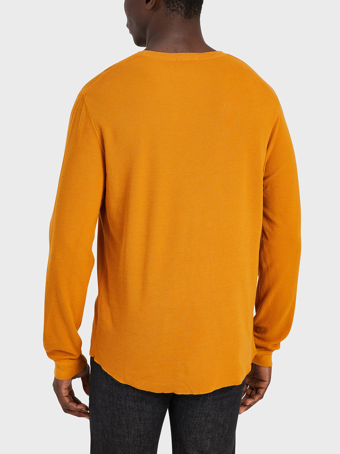 ONS Clothing Men's WAFFLE L/S VILLAGE CREW Pre-shrunk Cotton in CATHAY SPICE