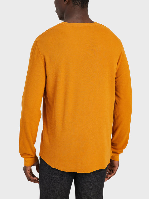 ONS Clothing Men's WAFFLE L/S VILLAGE CREW in CATHAY SPICE