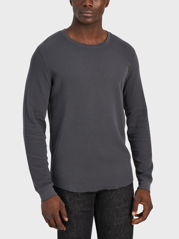 ONS Clothing Men's WAFFLE L/S VILLAGE CREW Pre-shrunk Cotton in CHARCOAL