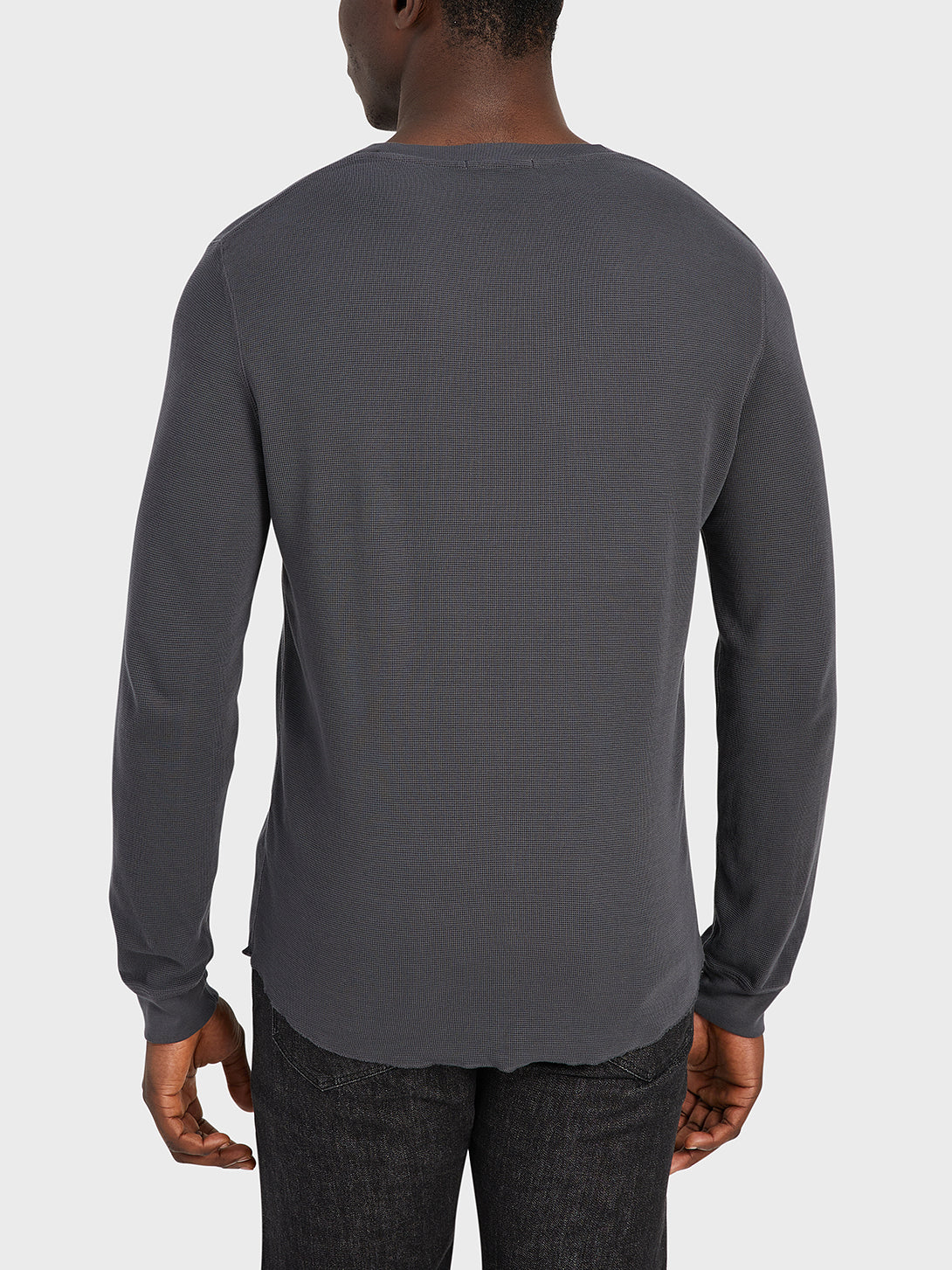 ONS Clothing Men's WAFFLE L/S VILLAGE CREW in CHARCOAL