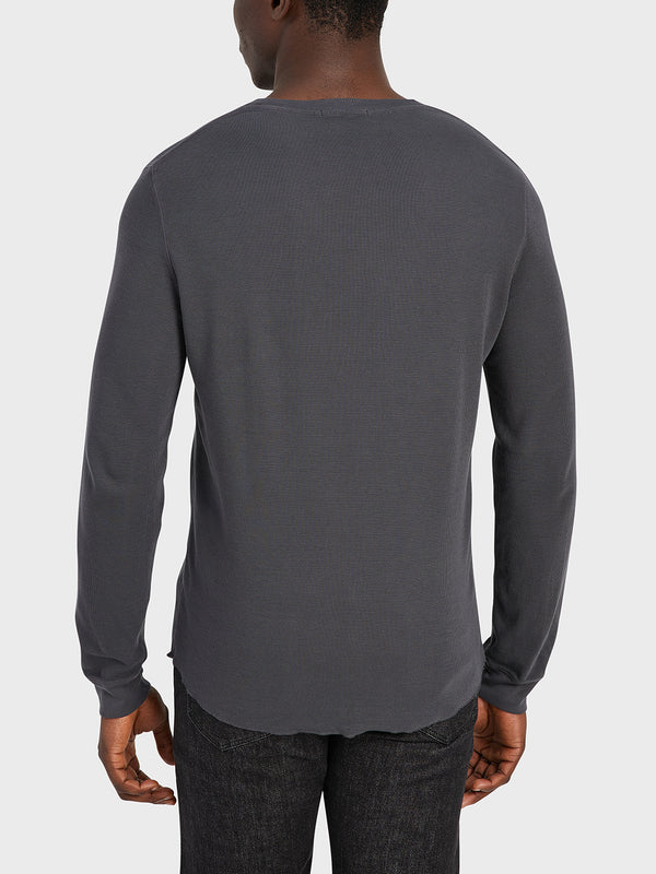 ONS Clothing Men's WAFFLE L/S VILLAGE CREW Pre-shrunk Cotton in CHARCOAL black friday deals