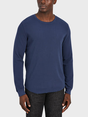 ONS Clothing Men's WAFFLE L/S VILLAGE CREW Pre-shrunk Cotton in NAVY