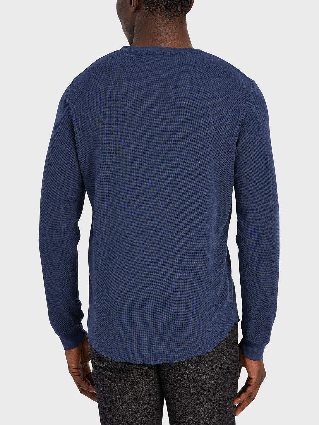 ONS Clothing Men's WAFFLE L/S VILLAGE CREW Pre-shrunk Cotton in NAVY black friday deals