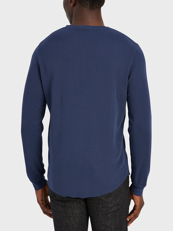 ONS Clothing Men's WAFFLE L/S VILLAGE CREW in NAVY