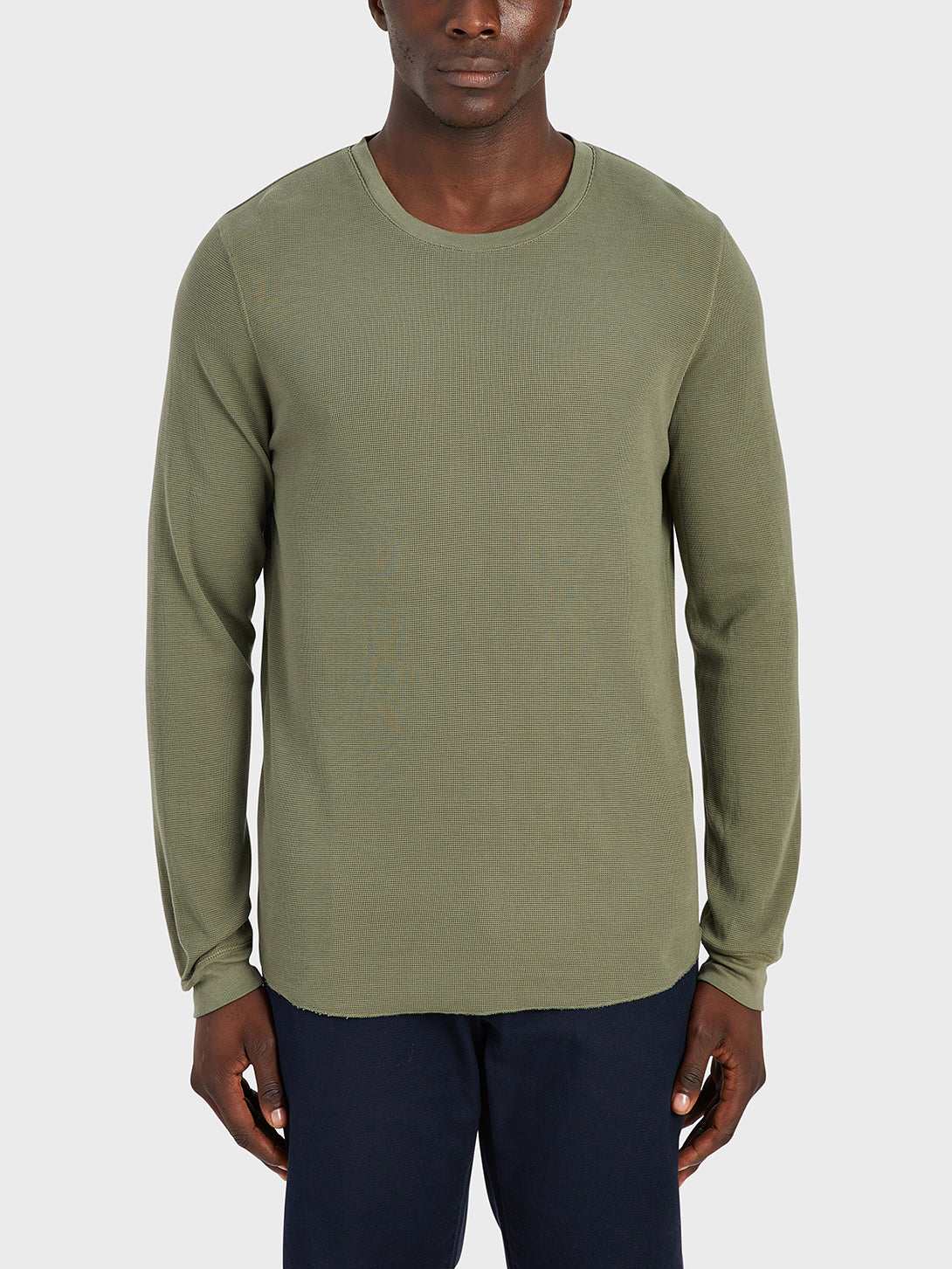 ONS Clothing Men's WAFFLE L/S VILLAGE CREW Pre-shrunk Cotton in OLIVE