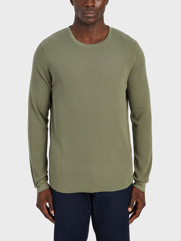 ONS Clothing Men's WAFFLE L/S VILLAGE CREW Pre-shrunk Cotton in OLIVE black friday deals