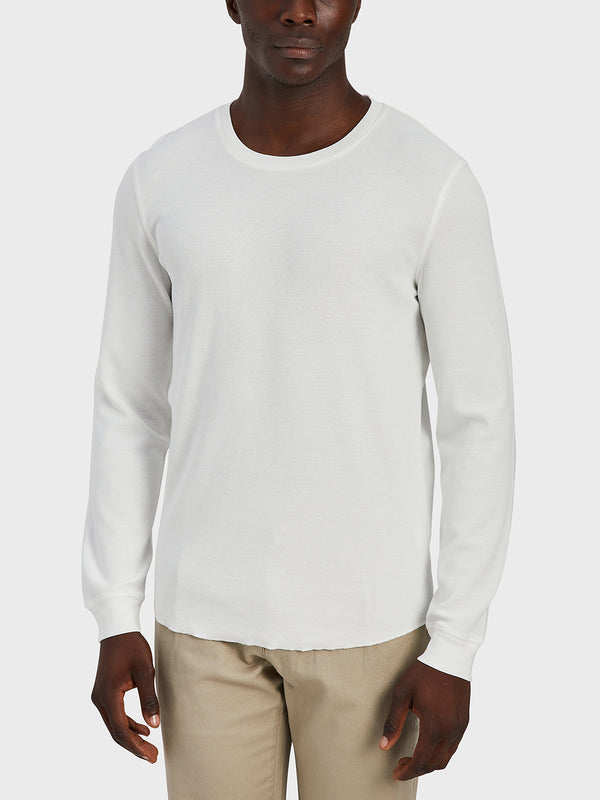 ONS Clothing Men's WAFFLE L/S VILLAGE CREW in WHITE