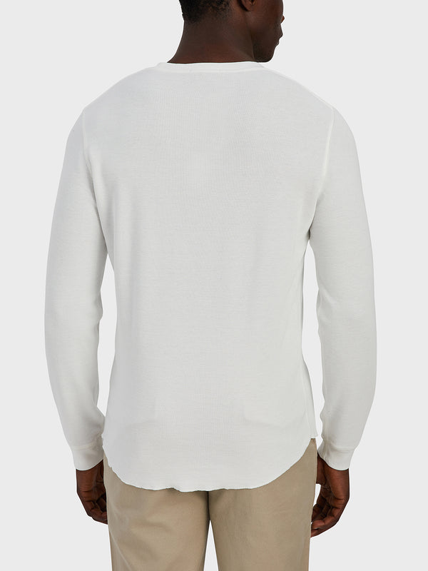 ONS Clothing Men's WAFFLE L/S VILLAGE CREW Pre-shrunk Cotton in WHITE black friday deals