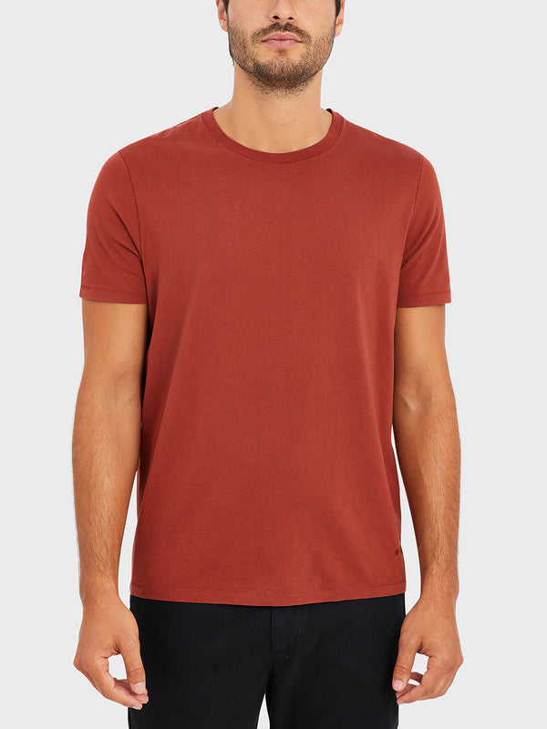 ONS VILLAGE CREW NECK TEE BURNT HENNA RED