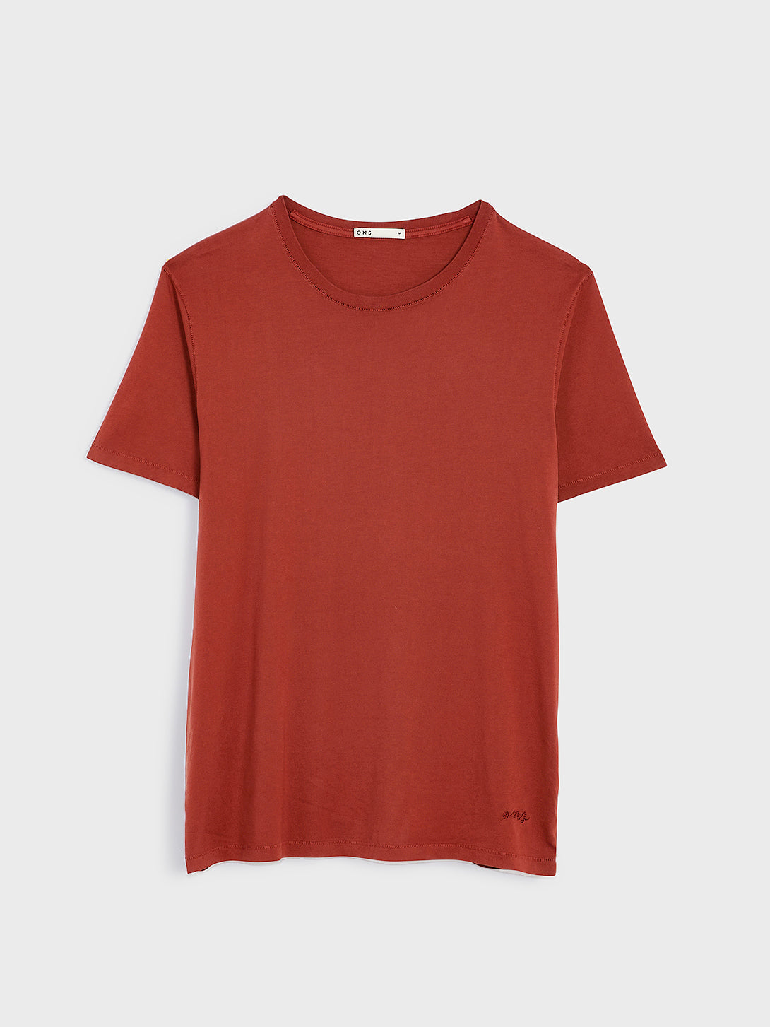 ONS VILLAGE CREW NECK TEE BURNT HENNA RED 100% Supima Cotton, Pre-shrunk cotton