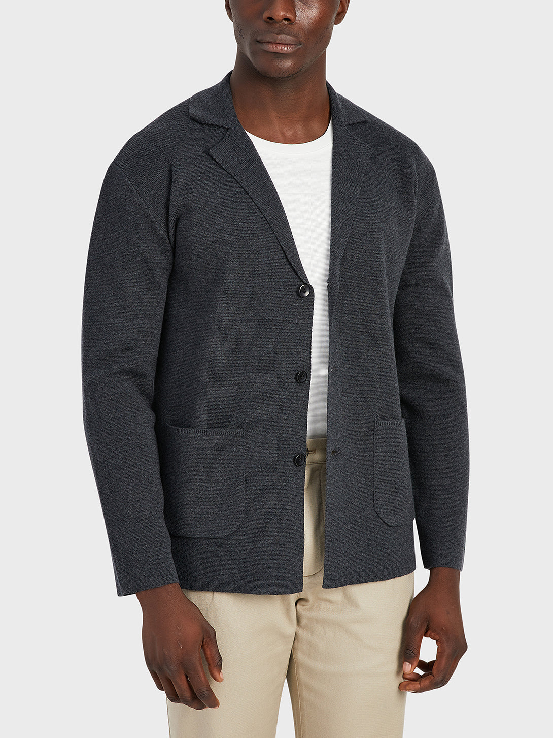 ONS Clothing Men's Cole wool cardigan in CHARCOAL
