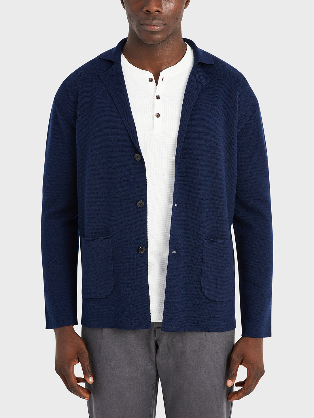 ONS Clothing Men's Cole wool cardigan in NAVY