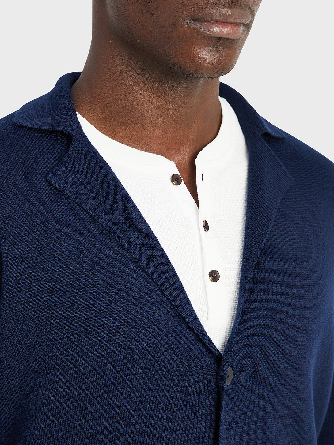 ONS Clothing Men's Cool wool cardigan in NAVY