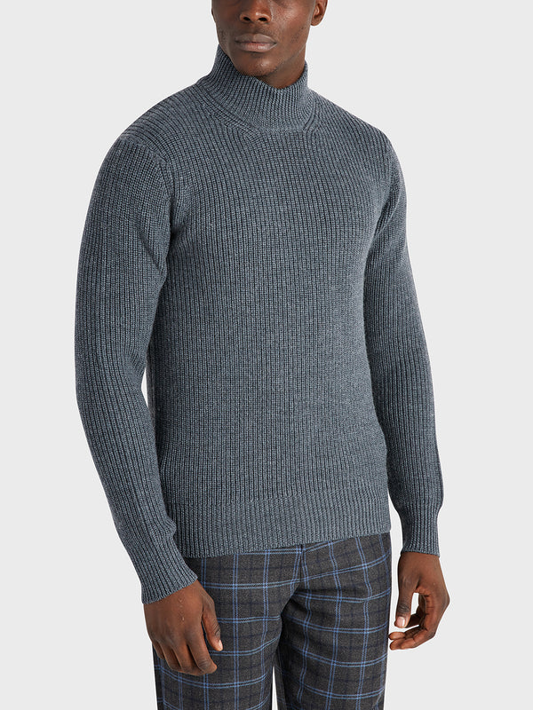 ONS Clothing Men's Acton Mock Neck Sweater in CHARCOAL H