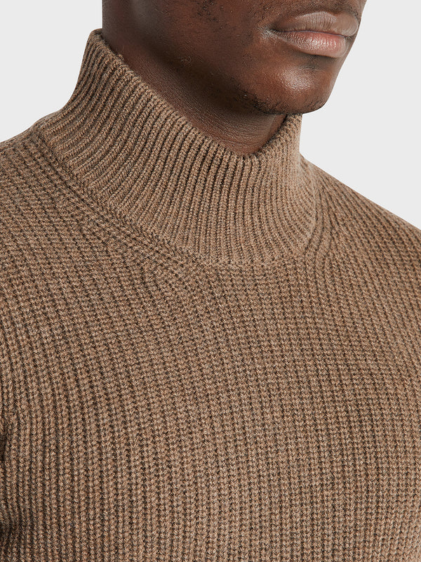 ONS Clothing Men's Acton Mock Neck Sweater in COFFEE