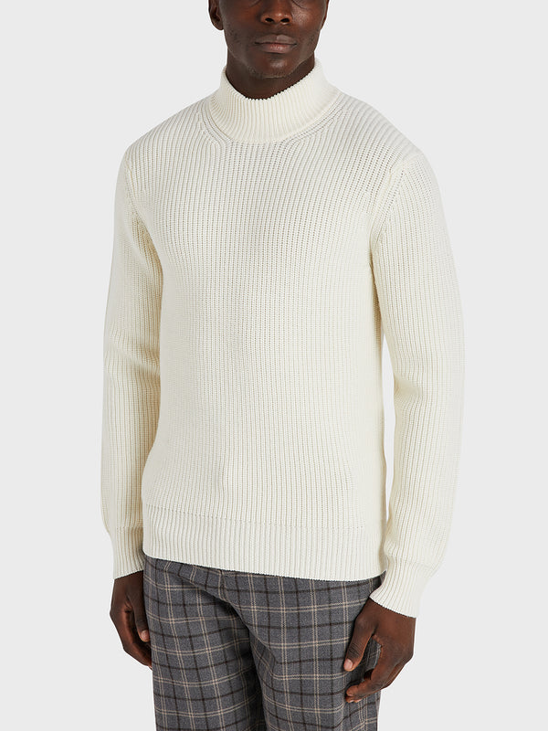 ONS Clothing Men's Acton Mock Neck Sweater in OFF WHITE