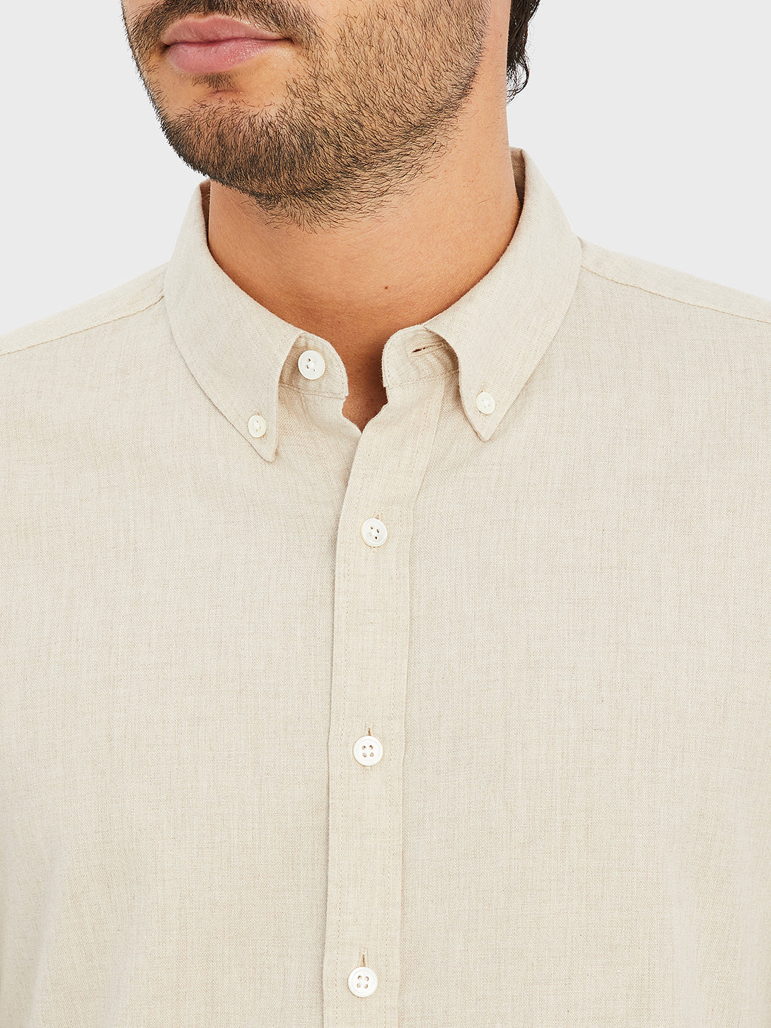ONS FULTON PEACHED OXFORD Mens shirt in  CEMENT