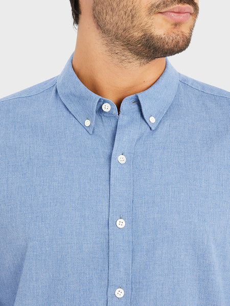ONS FULTON PEACHED OXFORD Mens shirt in COBALT BLUE