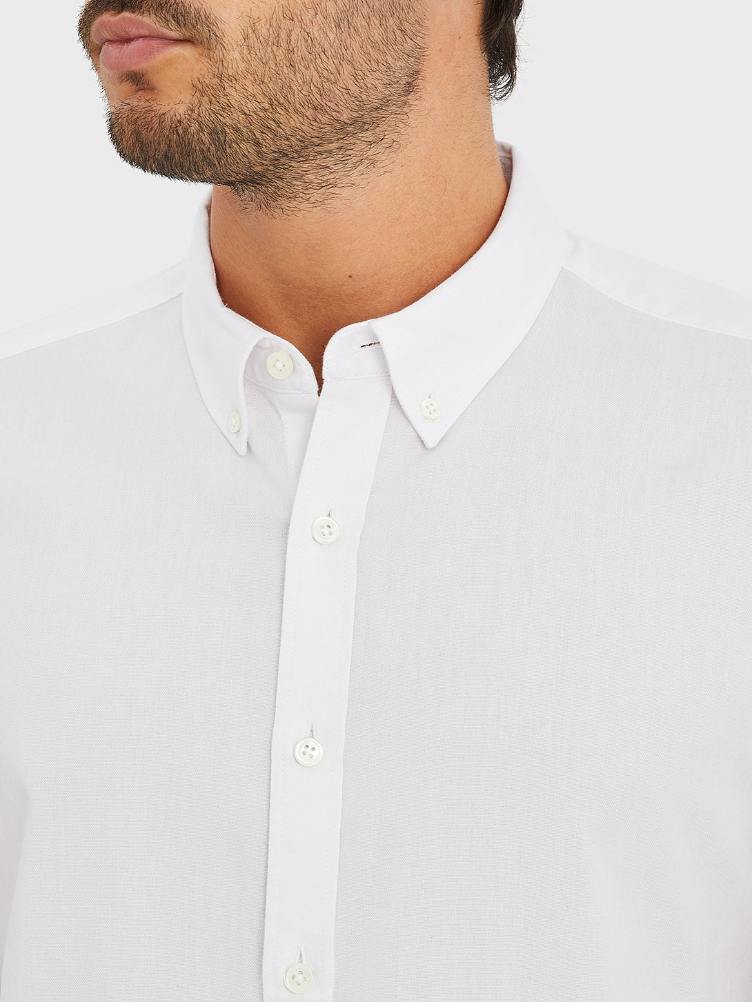 ONS FULTON PEACHED OXFORD Mens shirt in  WHITE