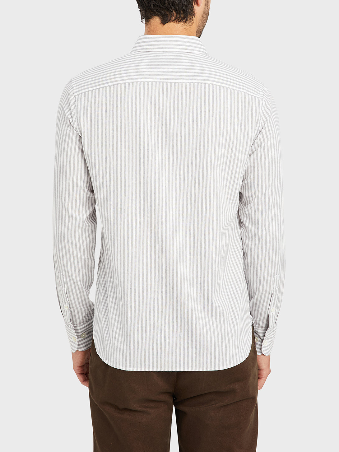 black friday deals FULTON STRIPED OXFORD SHIRT GREY STRIPE