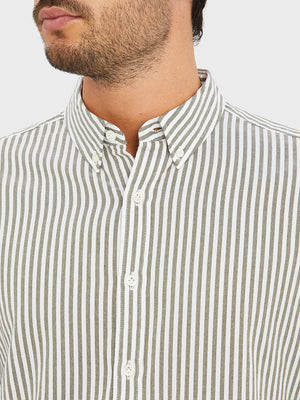 black friday deals FULTON STRIPED OXFORD SHIRT OLIVE GREEN STRIPE