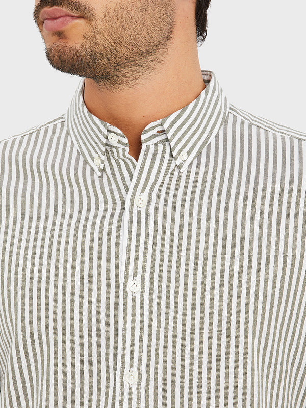FULTON STRIPED OXFORD SHIRT OLIVE GREEN STRIPE