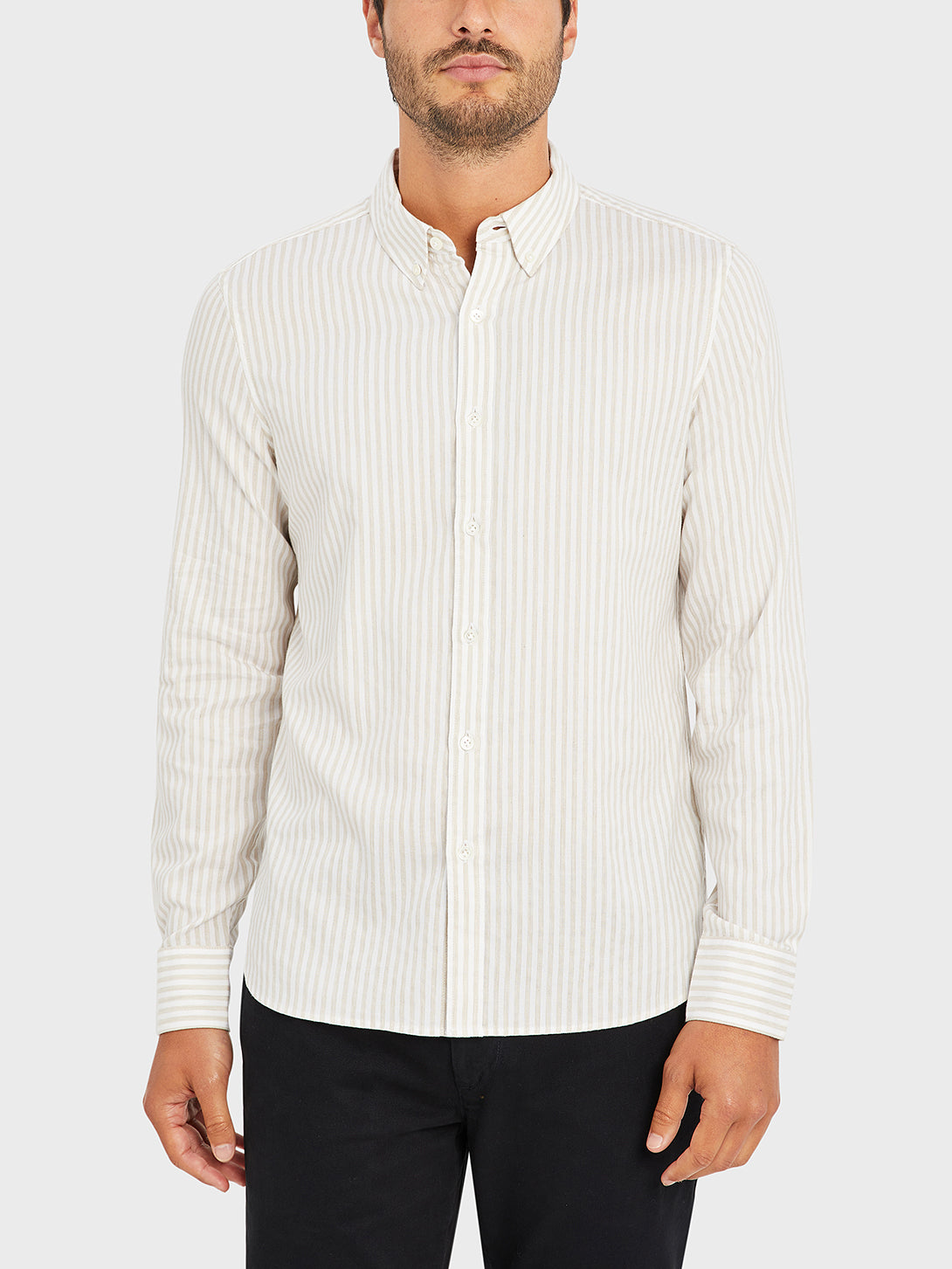 black friday deals FULTON STRIPED OXFORD SHIRT KHAKI STRIPE