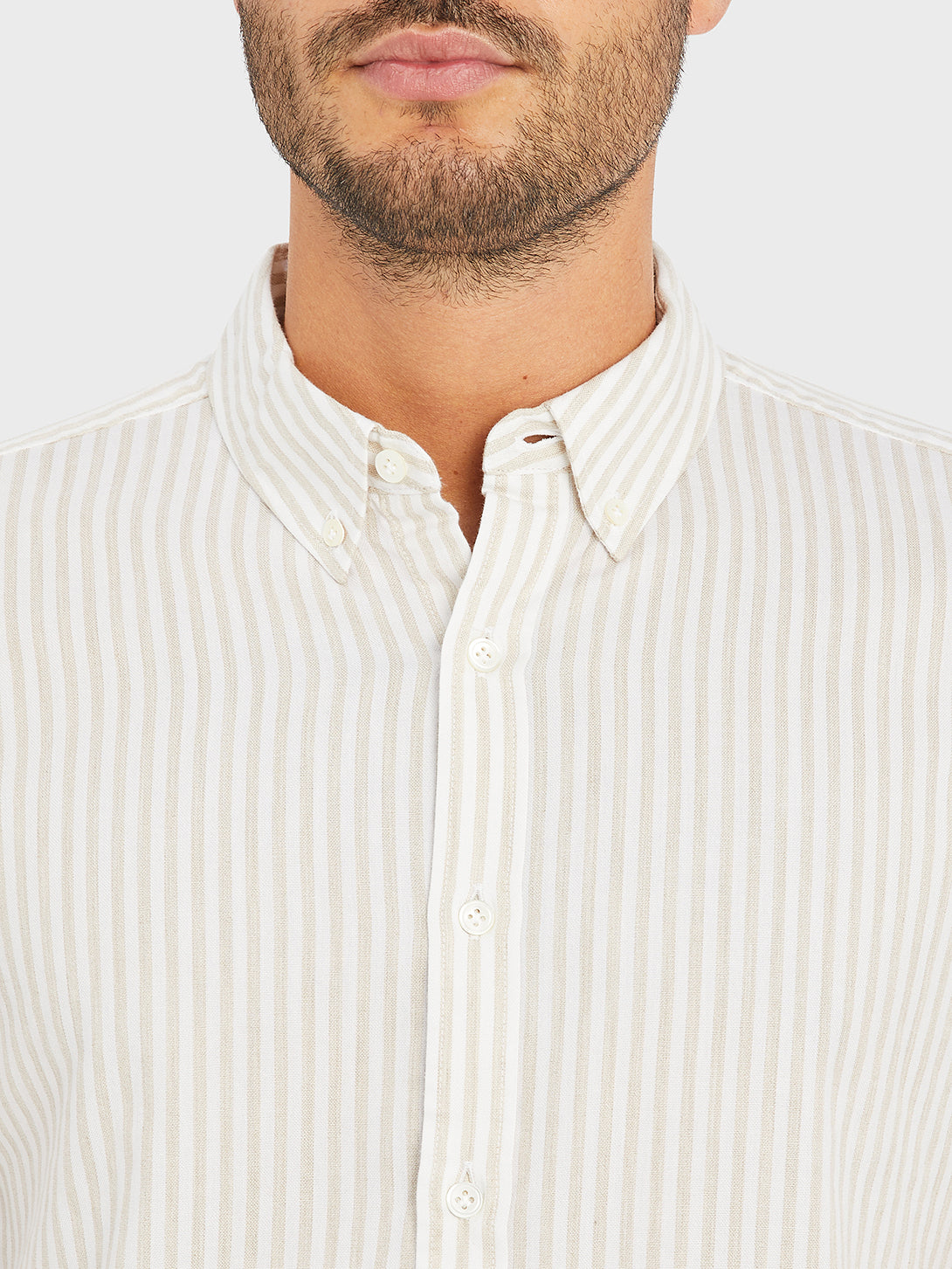 FULTON STRIPED OXFORD SHIRT KHAKI STRIPE