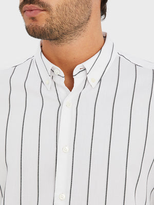 ONS Clothing Men's FULTON WIDE STRIPE OXFORD SHIRT in GREY STRIPE