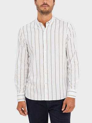 ONS Clothing Men's FULTON WIDE STRIPE OXFORD SHIRT in KHAKI STRIPE black friday deals