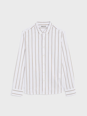 ONS Clothing Men's FULTON WIDE STRIPE OXFORD SHIRT in KHAKI STRIPE