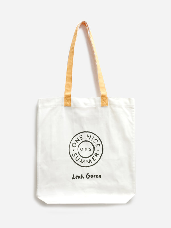 WHITE VENICE TOTE ONS LEAH GOREN CANVAS BAG