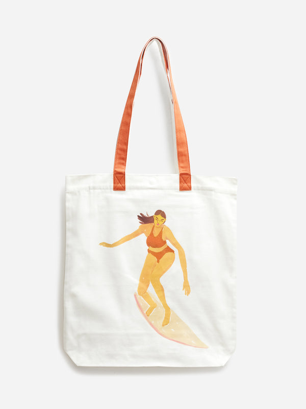 WHITE RELL TOTE ONS LEAH GOREN CANVAS BAG