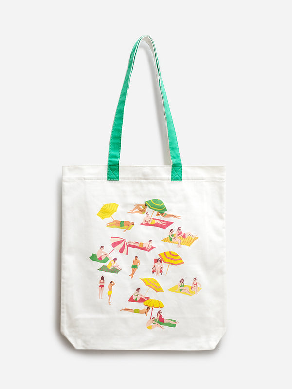 WHITE DEL MAR TOTE BAG ONS X LEAH GOREN CANVAS BAG