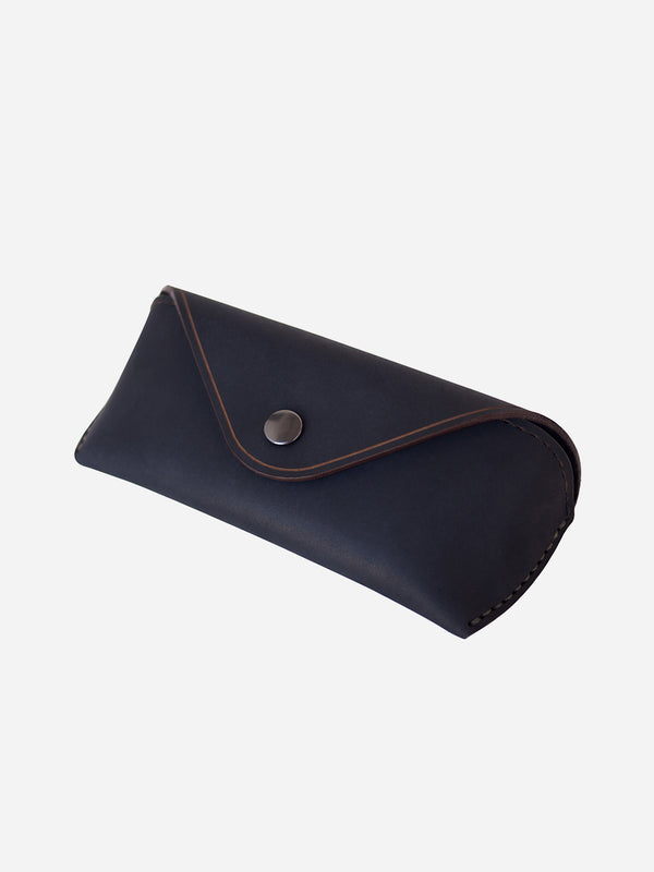 NAVY MATTE mens glasses case brown leather eyewear sleeve makr