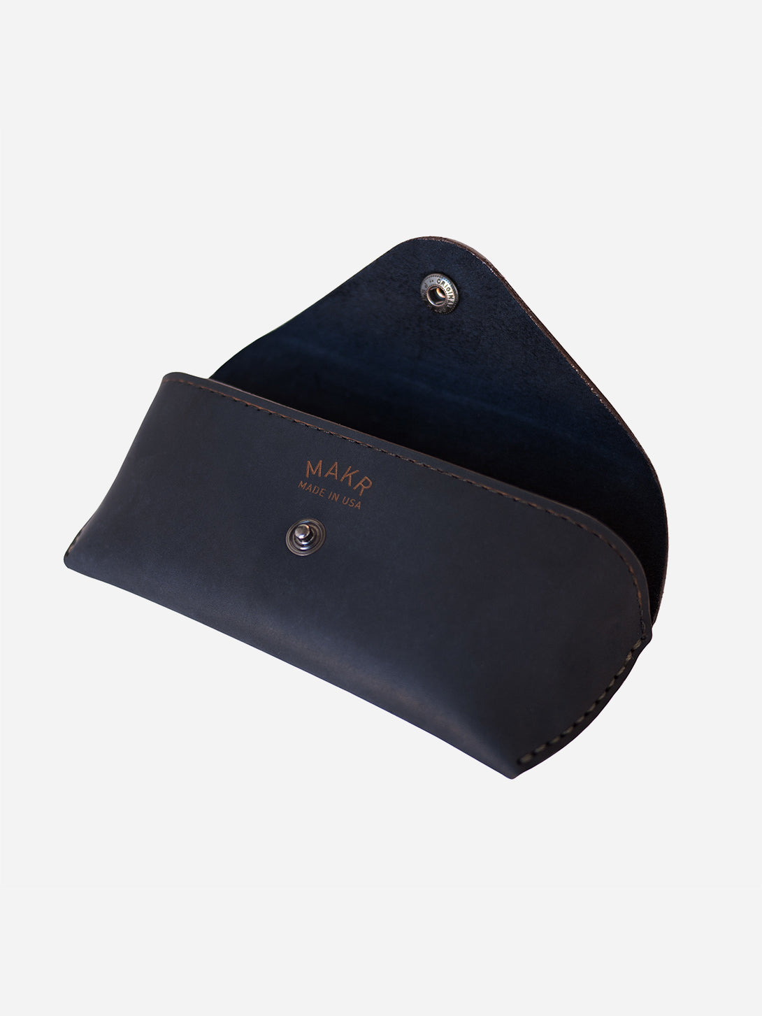 NAVY MATTE mens glasses case blue leather eyewear sleeve makr
