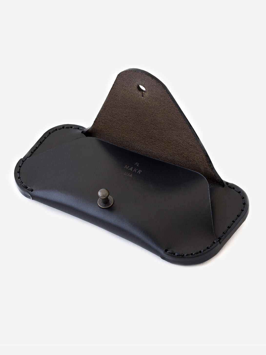 BLACK mens glasses case brown leather eyewear sleeve makr