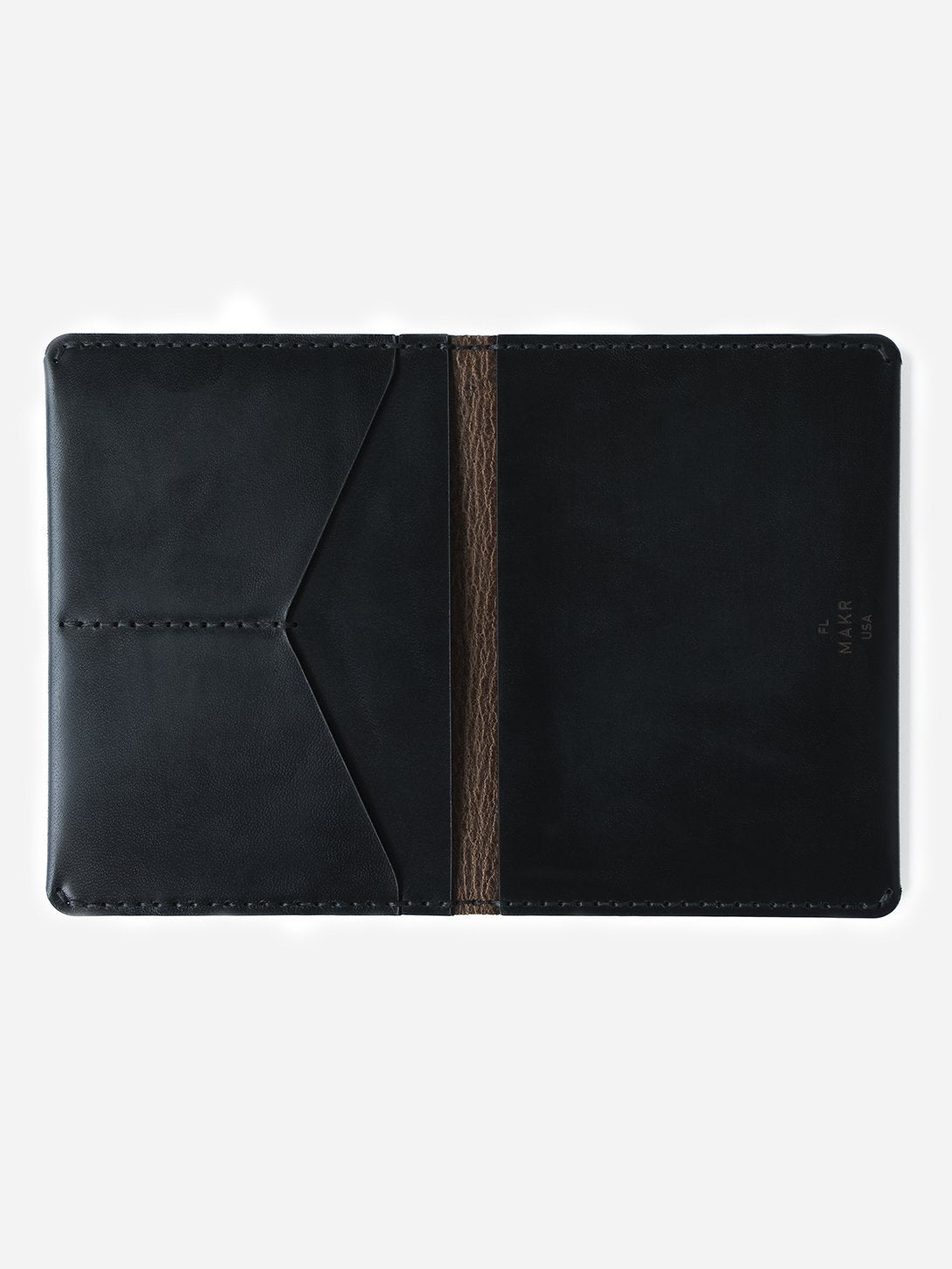 BLACK mens leather wallet brown bifold passport wallet makr