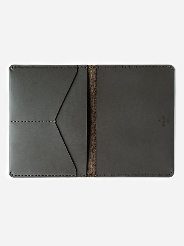 GUNMETAL mens leather wallet brown bifold passport wallet makr