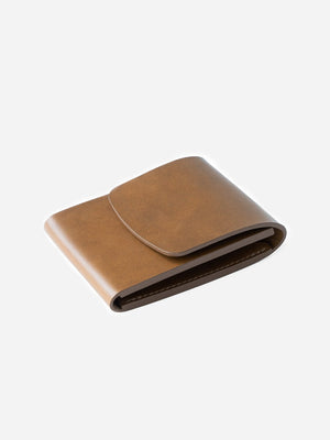 FLAX mens tan leather wallet card holder weld vert pocket makr