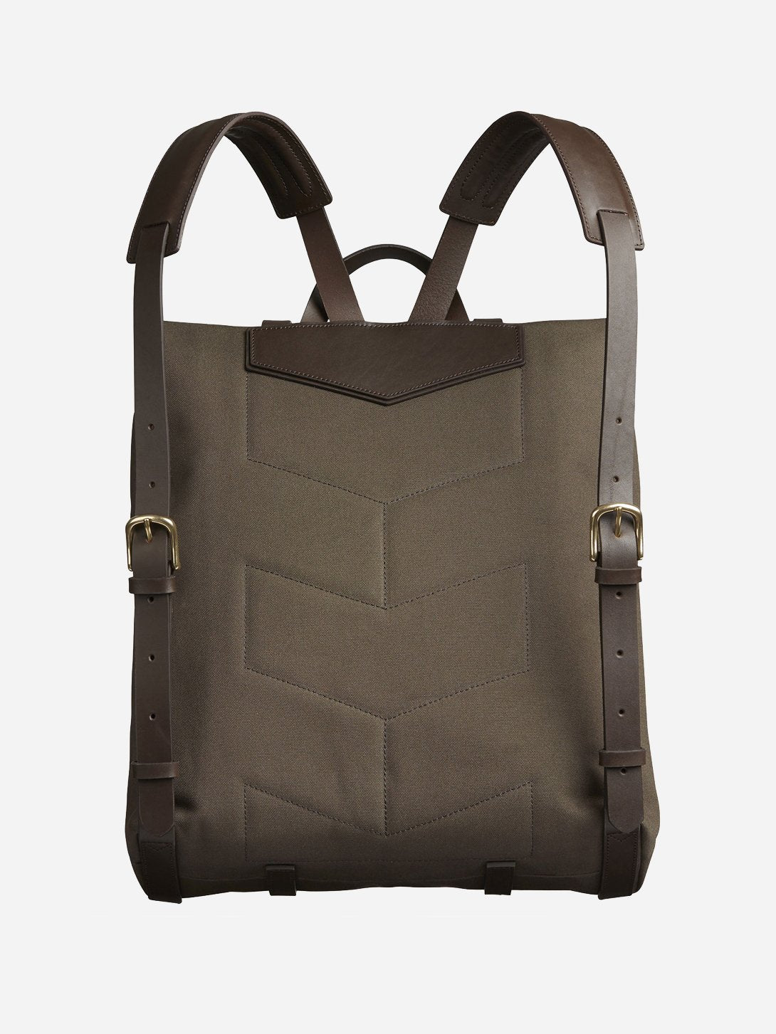 ARMY/DK.BROWN men and women unisex roll top blue canvas and brown leather backpack m/s backpack mismo