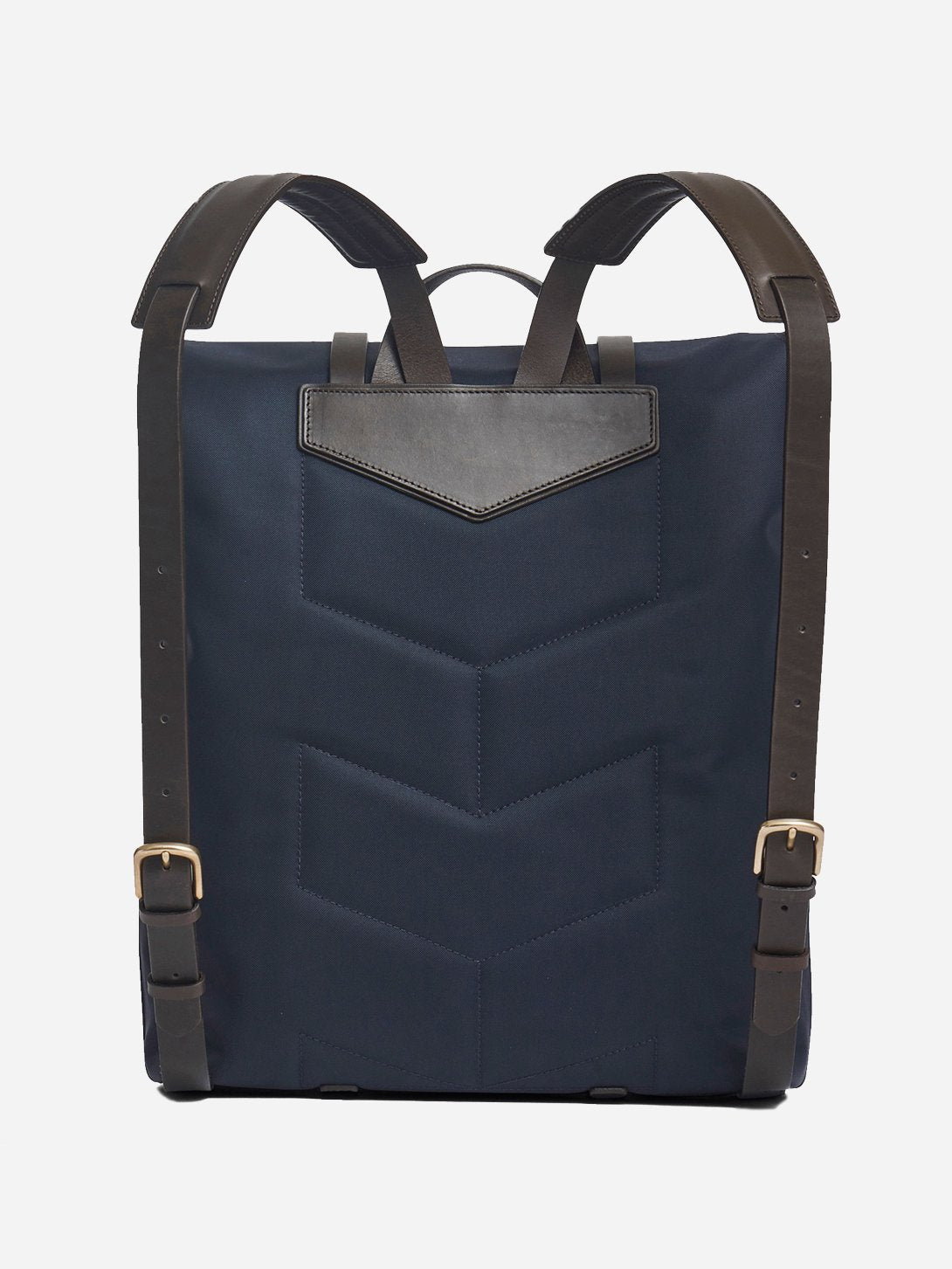 NAVY/DK.BROWN men and women unisex roll top blue canvas and brown leather backpack m/s backpack mismo