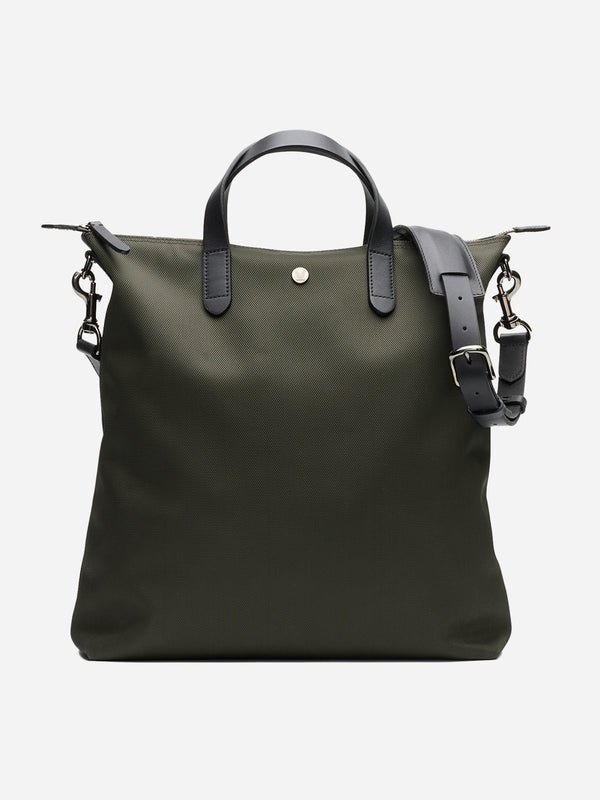 SKAGERRAK men and women unisex tote bag green canvas and brown leather m/s shopper mismo