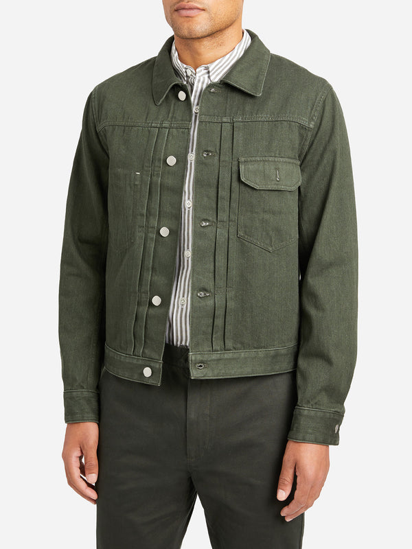 OLIVE GREEN jean jacket for men tripp denim trucker jacket green ons clothing
