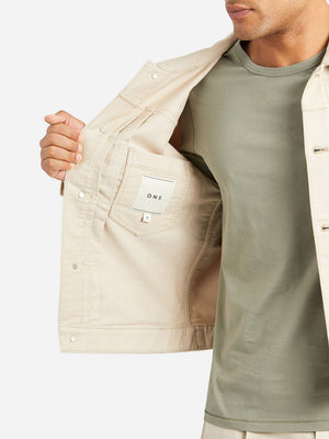 BEIGE jean jacket for men tripp denim trucker jacket brown ons clothing