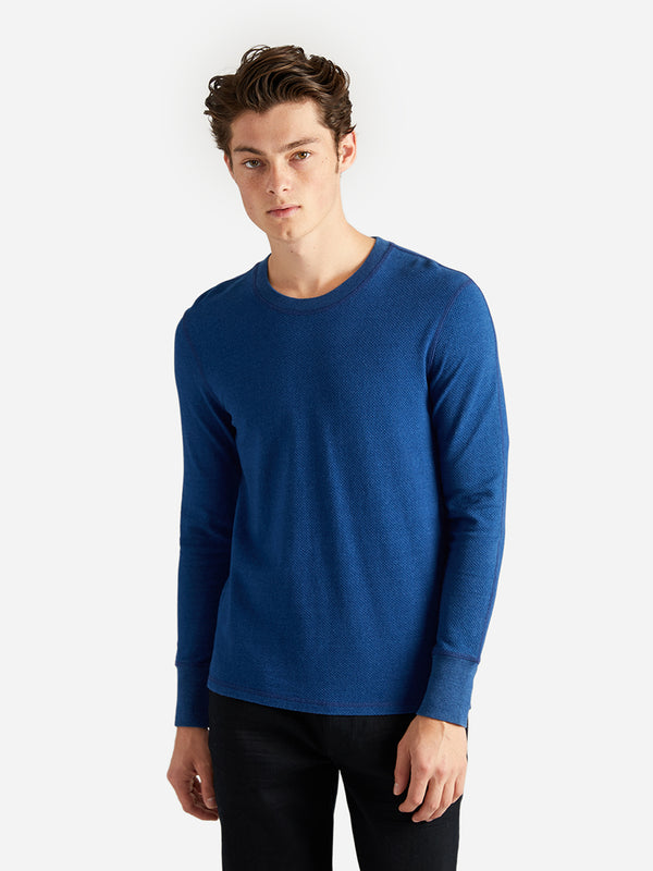 ons garage men's ls knit indigo