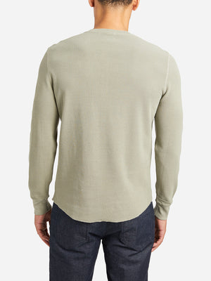 GREEN waffle henley court waffle henley green ons clothing