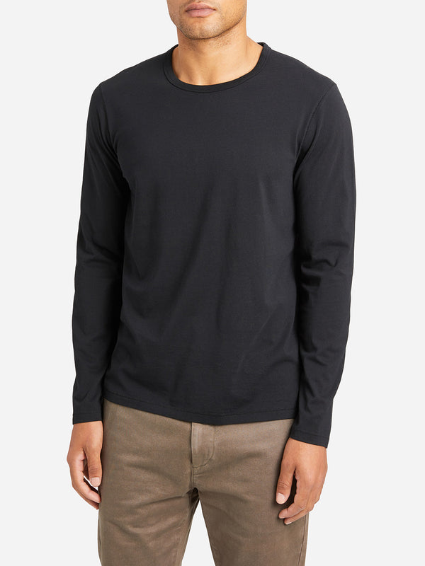 JET BLACK long sleeve t shirt village crew neck long sleeve tee black