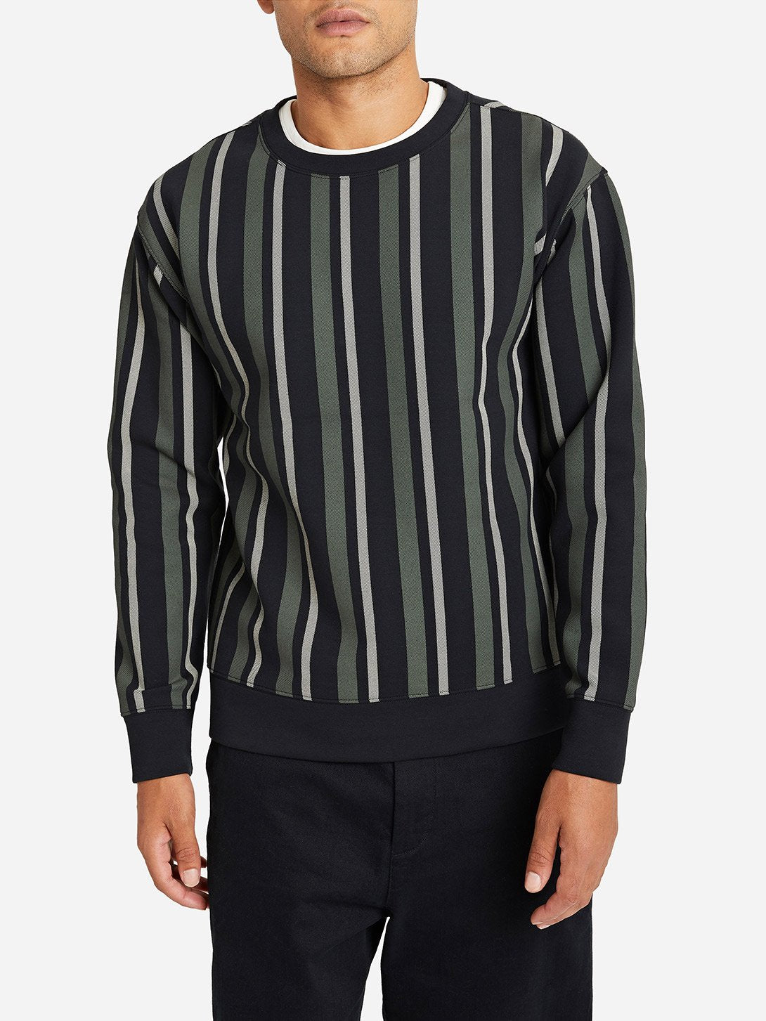 GREEN STRIPE mens long sleeve t shirts angelo crew ons clothing