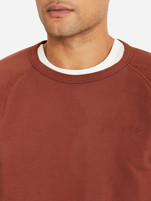 BURNT BRICK RED crew neck sweater for men DEON crew by ons clothing